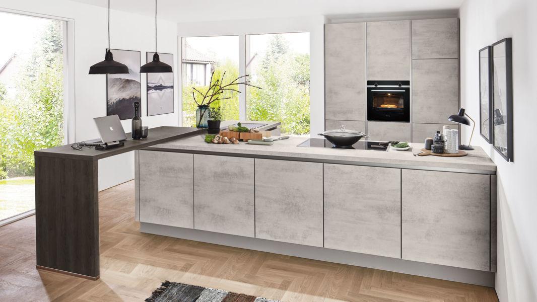 Design L Kuche Riva Von Nobilia Mit Front In Grau Grau