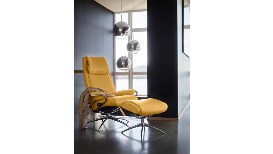 Stressless Sessel Und Hocker Paris Gelb Wohnzimmer
