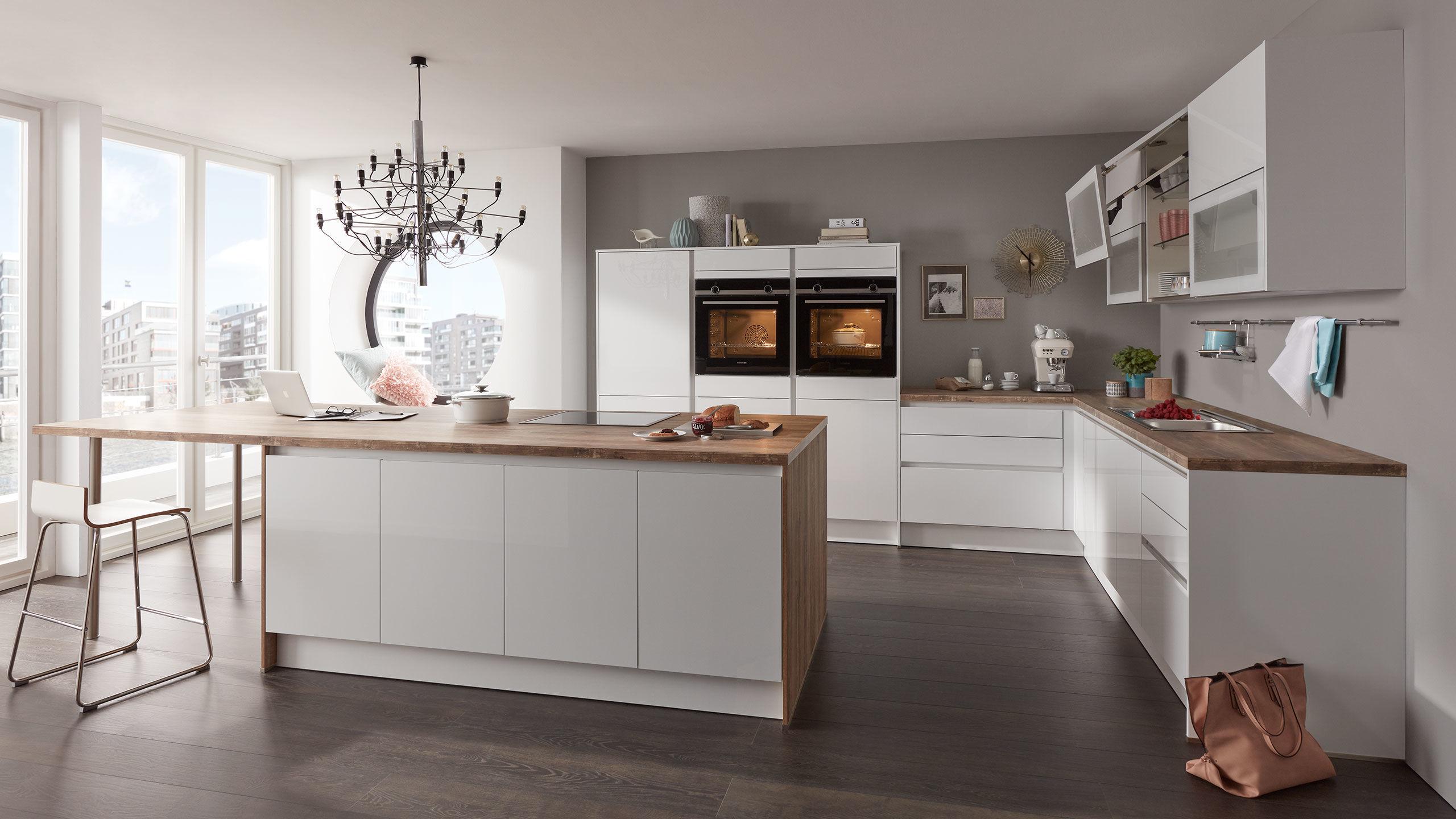 Wert L-Küche mit Insel und Ansetztisch Mod. Uni Gloss PG1 ...