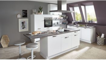 Inselküche Speed von Nobilia mit Front in Matt, Alpinweiß Weiss