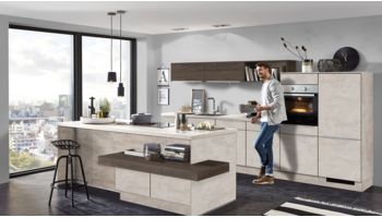 Nobilia RIVA Küchenzeile mit Insel 892 Beton grau, Gladstone Oak