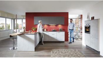 Edle L-Küche Riva von Nobilia mit Front in Beton Grau Grau