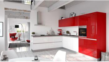 Kontraststarke L-Küche Fresh von Culineo mit Front in Hochglanz Lack, Weiss und Rosenrot