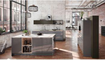 Hochwertige Inselküche Fresh von Culineo mit Front in Hochglanz, Onyxgrau Grau