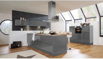 Große Inselküche Fresh von Culineo mit Front in Hochglanz Lack, Onyxgrau Grau