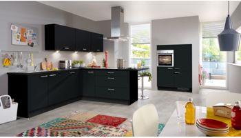 Zeitlose L Küche Touch von Nobilia mit Front in Matt, Schwarz Schwarz