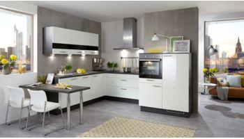 Culineo L-Küche Mod. Arctica Schneeweiss Hochglanz Lack 2210