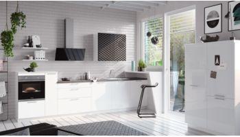 """Helle Küchenzeile """"Fresh"""" von Culineo mit Front in Hochglanz Lack, Weiß"""