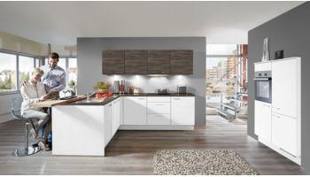 Edle L-Küche Laser von Nobilia mit Front in Alpinweiß und Gladstone Oak Weiss