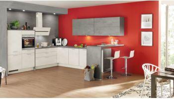 Nobilia L-Küche mit Esstheke Mod. Riva 891 Weissbeton kombiniert  mit Color-Concept 354 Beton Schiefergrau
