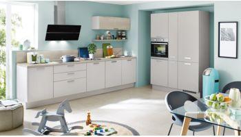 Küchenzeile Speed von Nobilia mit Front in Seidengrau Grau