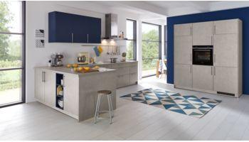 Wert L-Küche Mod. Elba PG1, K024 Beton Dunkelgrau Nachbildung Lack matt kombiniert mit Hängern in Biella PG5, L280 Aquablau