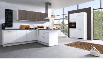 Flexible L-Küche Arctica von Culineo mit Front in Hochglanz Lack, Schneeweiß Weiss