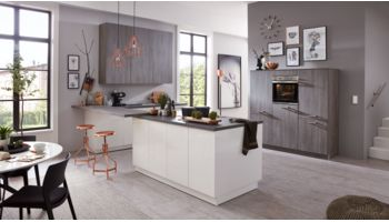 3-teilige Inselküche Fresh von Culineo mit Front in Hochglanz Lack, Weiss und Burned Oak Weiss