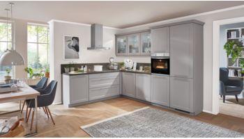 Großzügige L-Küche Cascada von Nobilia mit Front in Steingrau Grau
