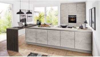 Design L-Küche Riva von Nobilia mit Front in Grau Grau
