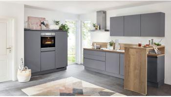 Grifflose Küchenzeile Touch von Nobilia mit Front in Matt, Schiefergrau Grau