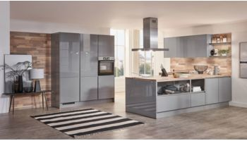 Hochwertige L-Küche Focus von Nobilia mit Front in Hochglanz Lack, Mineralgrau Grau