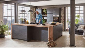 Wohnliche L-Küche Speed von Nobilia in Schwarzbeton Schwarz
