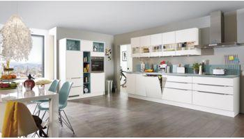 Offene Küchenzeile Speed von Nobilia mit Front in Weiss Blau