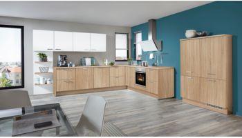 Kontraststarke L-Küche Speed von Nobilia mit Front in Eiche und Weiß Eiche