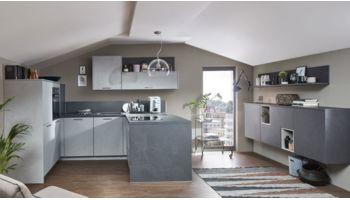 Moderne U-Küche Stone Art von Nobilia mit Front in Schiefer Steingrau Grau