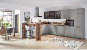 Moderne L-Küche Inox von Nobilia mit Front in Lacklaminat, Stahl Grau