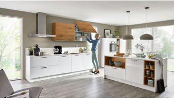 3-teilige Küche Focus von Nobilia mit Front in Ultra Hochglanz, Alpinweiss Eiche