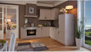 Landhaus L-Küche Viktoria von Wert Küche mit Front in Satinlack, Sandgrau Grau