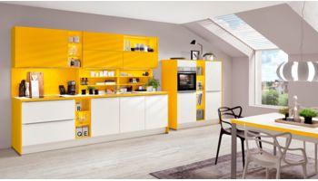 Küchenzeile Laser von Nobilia mit Front in Alpinweiß und Sonnengelb