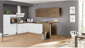 Moderne L-Küche Speed von Nobilia mit Front in Softmatt, Weiß und Bronze Weiss