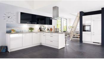 Große T-Küche Focus von Nobilia mit Front in Lack Hochglanz, Weiß und Schwarz Weiss