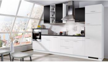 """Küchenzeile """"Star"""" von Express mit Front in Schwarz Matt und Weiss Hochglanz"""
