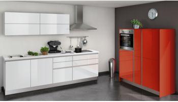 Moderne Küchenzeile Star von Express mit Front in Hochglanz, Rot und Weiss