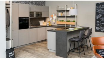 LI - Koje 41- Ausstellungsküche mit Wohnprogramm (Apartment) Nobilia Stoneart