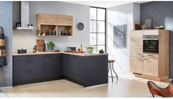 Moderne L-Küche Easytouch von Nobilia in Ultramatt, Grafitschwarz Eiche