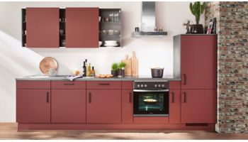 Orginelle Küchenzeile Easytouch von Nobilia in Ultramatt, Rostrot