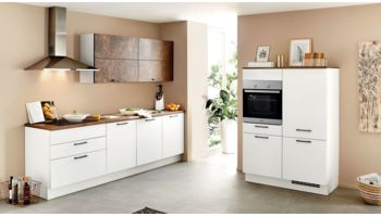 2-zeilige Küche Speed von Nobilia mit Front in Weiss Weiss