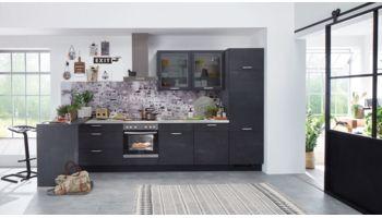Kompakte Einbauküche Speed von Nobilia mit Front in Schwarzbeton Nachbildung Beton