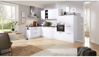 Familienfreundliche L-Küche von Interliving Serie 3015 mit Front in Cotton Weiss