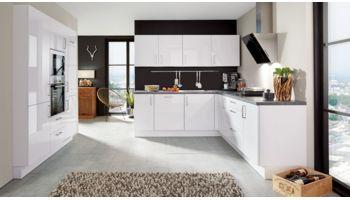 Design Einbauküche Focus von Nobilia in Lack Hochglanz, Premiumweiss Weiss