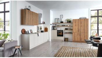 Wohnliche Küche Alina von Wert Küche mit Front in Samtmatt, Sandgrau