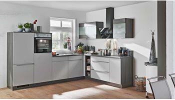L-Küche Win von Express mit Front in Matt, Hellgrau Hellgrau