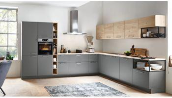 Großzügige L-Küche Feel von Nolte Küchen mit Front in Softmatt, Quarzgrau