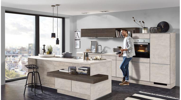 Moderne Inselküche Riva von Nobilia mit Front in Beton Grau