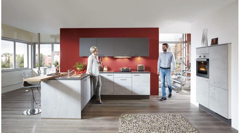 Edle L-Küche Riva von Nobilia mit Front in Beton Grau