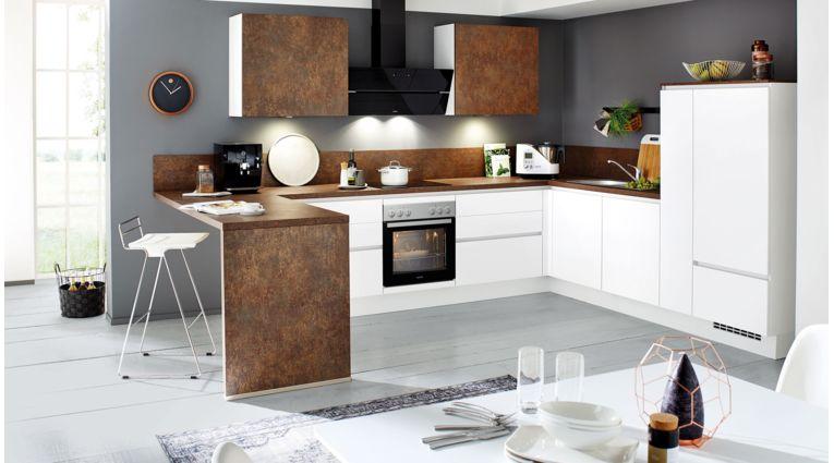 Kontrastreiche L-Küche Fashion von Nobilia mit Front in Mattlack, Alpinweiß und Ferro Bronze