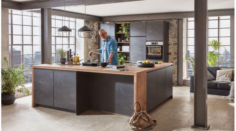 Wohnliche L-Küche Speed von Nobilia in Schwarzbeton