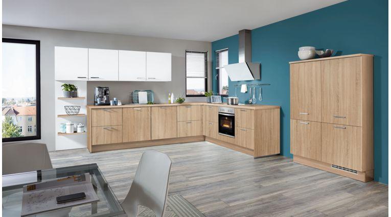 Kontraststarke L-Küche Speed von Nobilia mit Front in Eiche und Weiß