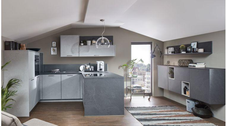 Moderne U-Küche Stone Art von Nobilia mit Front in Schiefer Steingrau